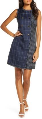 Julia Jordan Tweed Grid Double Breasted Sheath Dress