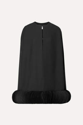 Valentino Organza-trimmed Wool And Silk-blend Crepe Cape - Black