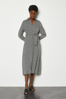 Karen Millen Stripe Tie Waist Shirt Dress
