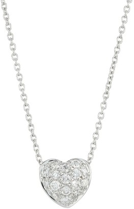 Roberto Coin Tiny Treasures 0.15 TCW Diamond and 18K White Gold Heart Pendant Necklace