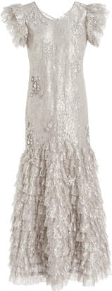 Erdem Audrey Ruffle-Trim Metallic Dress