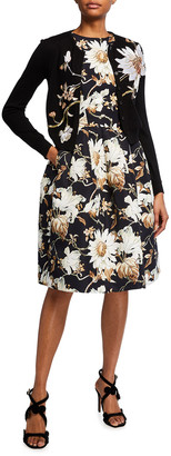 Oscar de la Renta Floral-Print Dress with Pockets