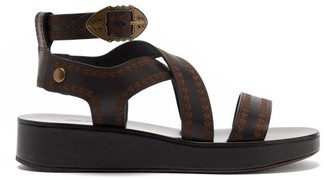 Isabel Marant Nuriee Leather Flatform Sandals Nuriee - Black