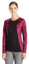 Anne Klein Women's L/s Colorblock Top W/ Sleeve Pocket-Plum