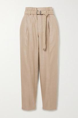 Brunello Cucinelli Belted Cropped Linen-blend Straight-leg Pants - Light brown