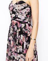 Asos Bandeau Maxi Floral Dress With Contrast Waist