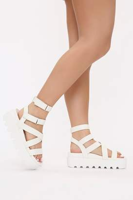 I SAW IT FIRST White Ankle Tie Sandals With Cleated Sole