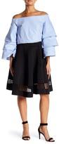 Endless Rose Scuba Knit Laser Cut Flared Skirt