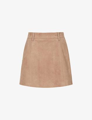 Reiss Tamarah snakeskin-print leather mini skirt