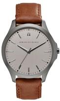 Ax Armani Exchange Diamond Accent Leather Strap Watch, 46Mm