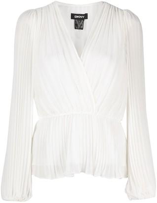 DKNY pleated V-neck blouse