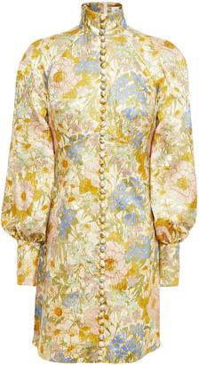 Zimmermann Super Eight Floral-print Metallic Cotton-blend Jacquard Mini Dress