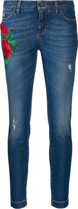 Dolce & Gabbana Floral Applique Skinny Jeans