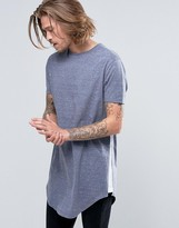 Asos Super Longline T-Shirt With Contrast Insert Hem In Blue