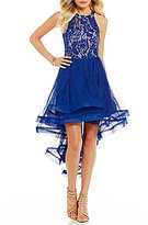 Xtraordinary Sequin Lace Bodice High-Low Dress