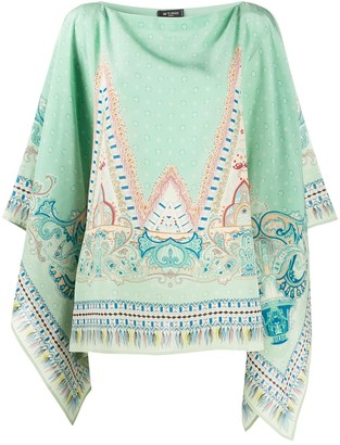 Etro Waterfall-Sleeved Ornate-Print Tunic