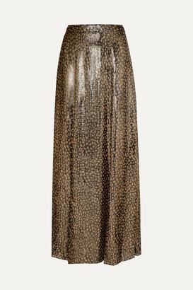 Alice + Olivia Alice Olivia - Athena Leopard-print Silk-blend Lame Maxi Skirt - Gold