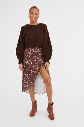 Urban Outfitters Kelly Tulip Wrap Midi Skirt