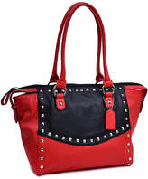 Dasein Red & Black Studded Satchel