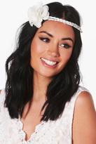 Boohoo Casey Floral Boho Bridal Headband white