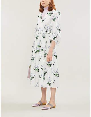 Les Rêveries Puff-sleeve floral-print cotton midi wrap dress