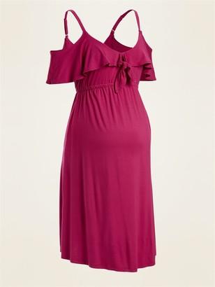 Old Navy Maternity Waist-Defined Cold-Shoulder Jersey Dress