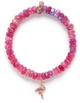 Sydney Evan Diamond sapphire 14k rose gold flamingo charm gemstone bead bracelet