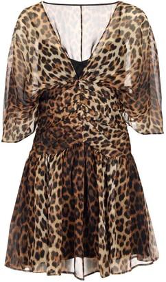 N°21 N21 Leopard Printed V-Neck Mini Dress