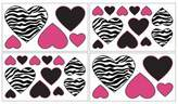 JoJo Designs Zebra Pink Wall Decal Stickers by Sweet Set of 4 Sheets