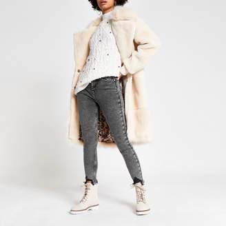River Island Womens Grey acid wash Hailey high rise jeans