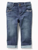 Old Navy Embroidered Cozy-Lined Jeans for Toddler Girls