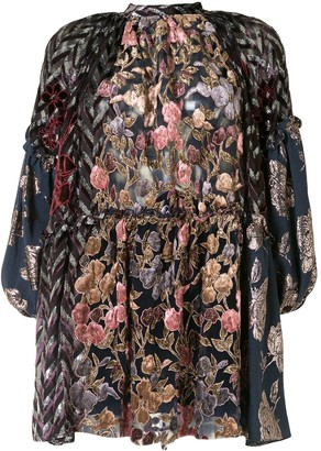 Biyan Contrast Floral Embroidered Blouse