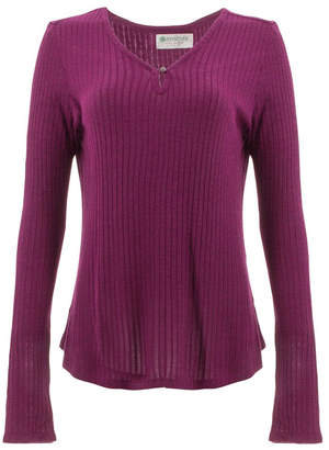 Aventura Women's Tee Shirts Magenta - Magenta Purple Larissa Keyhole Long-Sleeve Top - Women