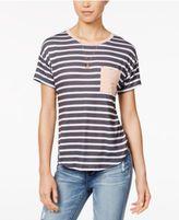 Belle Du Jour Juniors' Printed Contrast Pocket Ringer T-Shirt