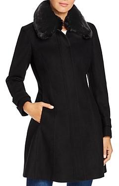 Calvin Klein Faux Fur-Collar Wool-Blend Coat