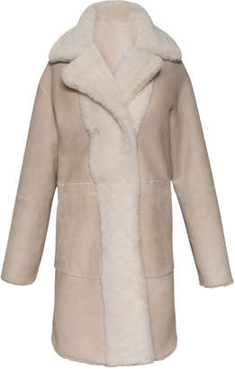 Gerard Darel Straight-cut Sheepskin Leather Ambre Coat