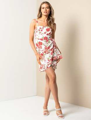 Forever New Stella Sarong Day Dress - Red Sunset Ditsy - 10