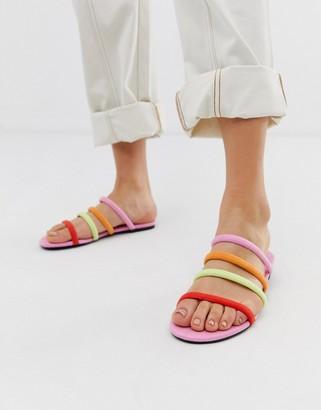 Monki multi strap flat sandal in multi