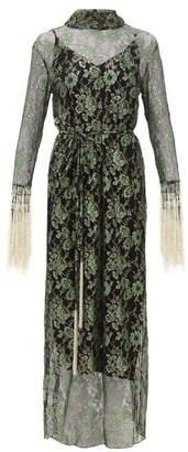 Romance Was Born Stardust Beaded Floral Lace Maxi Dress - Womens - Green Multi