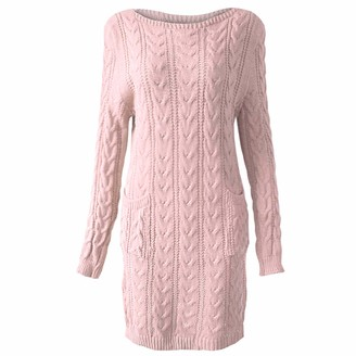 Xpose Ladies Winter Cable Knit Long Sleeve Midi Jumper Dress Sweater with Pockets 6 Colours Available Size 8 10 12 14 (Charcoal S/M (8/10))