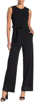 Calvin Klein Zip Front Belted Jumpsuit