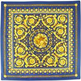 Versace Scrollwork Silk Scarf, Gold/Navy