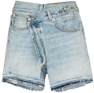R 13 Crossover Denim Shorts