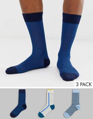 Burton Menswear 3 pack of socks in navy