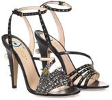Gucci Wangy Crystal-Encrusted Leather Sandals