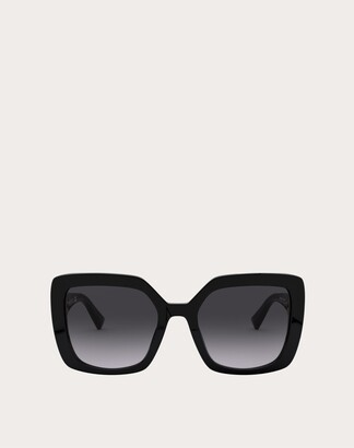 Valentino Squared Acetate Frame With Vlogo Women Black Acetate 100% OneSize