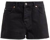 Raey Hawaii Raw-cut Denim Shorts - Womens - Black