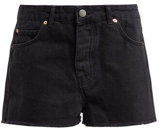 Raey Hawaii Raw-cut Denim Shorts - Black