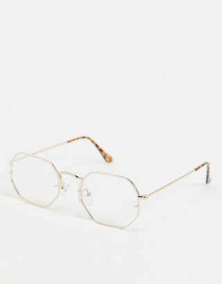 clear ASOS DESIGN angled glasses in gold metal with lenses