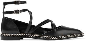 Lanvin Chain-trimmed Leather Point-toe Flats